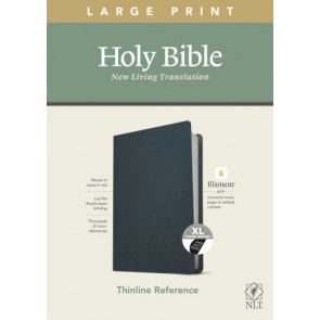 NLT Large Print Thinline Reference Bible, Filament Enabled Edition (Red Letter, Genuine Leather, Navy Blue, Indexed) - Genuine Leather Navy Blue With thumb index and ribbon marker(s)