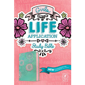 NLT Girls Life Application Study Bible (LeatherLike, Teal/Pink Flowers) - LeatherLike Multicolor/Pink Flowers/Teal With ribbon marker(s)