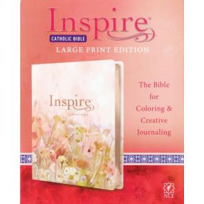 Inspire Catholic Bible NLT Large Print (LeatherLike, Pink Fields with Rose Gold) - Shimmery LeatherLike With ribbon marker(s) Wide margin