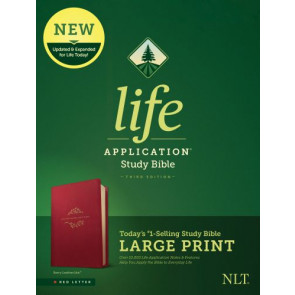 NLT Life Application Study Bible, Third Edition, Large Print (Red Letter, LeatherLike, Berry) - LeatherLike Berry With ribbon marker(s)