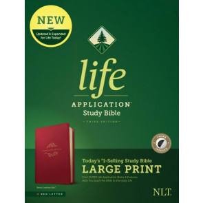 NLT Life Application Study Bible, Third Edition, Large Print (Red Letter, LeatherLike, Berry, Indexed) - LeatherLike Berry With thumb index and ribbon marker(s)