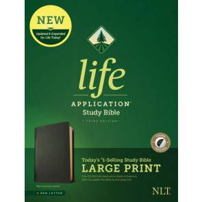NLT Life Application Study Bible, Third Edition, Large Print (Red Letter, Genuine Leather, Black, Indexed) - Genuine Leather Black With thumb index and ribbon marker(s)
