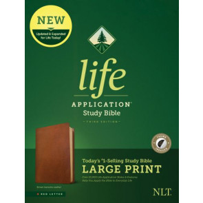 NLT Life Application Study Bible, Third Edition, Large Print (Red Letter, Genuine Leather, Brown, Indexed) - Genuine Leather Brown With thumb index and ribbon marker(s)