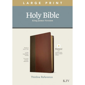 KJV Large Print Thinline Reference Bible, Filament Enabled Edition (Red Letter, LeatherLike, Brown/Mahogany) - LeatherLike Brown/Mahogany/Multicolor With ribbon marker(s)