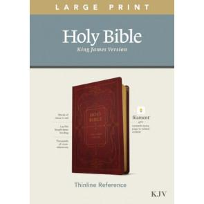 KJV Large Print Thinline Reference Bible, Filament Enabled Edition (Red Letter, LeatherLike, Ornate Burgundy) - LeatherLike Ornate Burgundy With ribbon marker(s)
