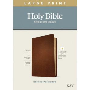 KJV Large Print Thinline Reference Bible, Filament Enabled Edition (Red Letter, Genuine Leather, Brown) - Genuine Leather Brown With ribbon marker(s)