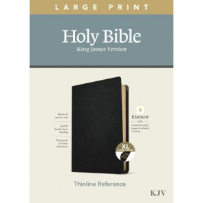 KJV Large Print Thinline Reference Bible, Filament Enabled Edition (Red Letter, Genuine Leather, Black, Indexed) - Genuine Leather Black With thumb index and ribbon marker(s)