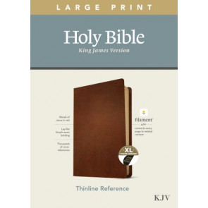 KJV Large Print Thinline Reference Bible, Filament Enabled Edition (Red Letter, Genuine Leather, Brown, Indexed) - Genuine Leather Brown With thumb index and ribbon marker(s)