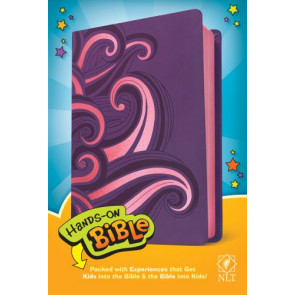 Hands-On Bible NLT (LeatherLike, Purple/Pink Swirls) - LeatherLike Purple/Pink Swirls