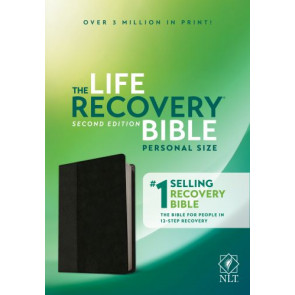 NLT Life Recovery Bible, Second Edition, Personal Size (LeatherLike, Black/Onyx) - LeatherLike Black/Onyx With ribbon marker(s)