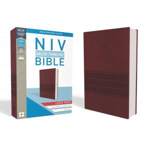 NIV, Value Thinline Bible, Large Print, Leathersoft, Burgundy, Comfort Print - Imitation Leather